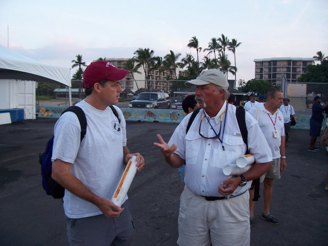 George Shillinger visits with Packy Offield of the IGFA